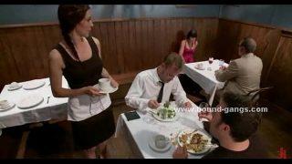 Lady takes off panties in restaurant