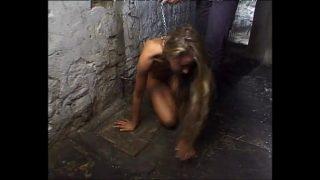 Naked slaves kept on a leash and brutalized!