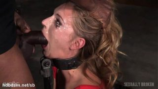 Orgasming beauty has her face messed up in saliva while deepthroating